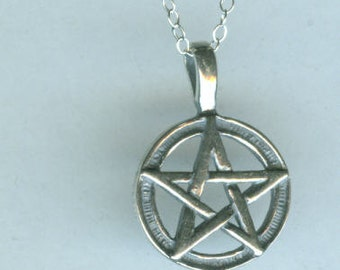 Sterling PENTACLE Pendan and Chaint  - Pagan