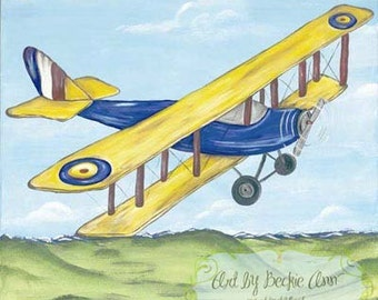Boys Vintage Airplane Barnstormer and  Red Jenny Art For Kids Stretched Canvas 10x10 Set of Two