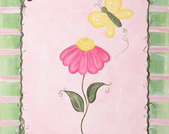 Set of 2 Girls Pink and Green Spring Butterfly Flowers Kids Art Stretched Canvas 11x14