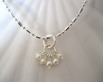 Freshwater mini pearl cluster pendant in silver by cra1nes on etsy