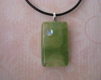 Fused Glass Pendant, Mossy Green Pendant Necklace