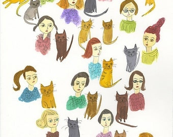 Cat Ladies.   Limited edition print by Vivienne Strauss.