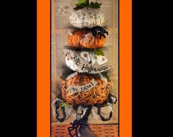 Big HALLOWEEN Pumpkin Stack Pattern PDF- primitive banner tulle decor prim spider email vintage grubby decoration party