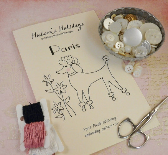 Paris Poodle puppy dog Stitchery E Pattern - embroidery 2012 Pdf French flower retro