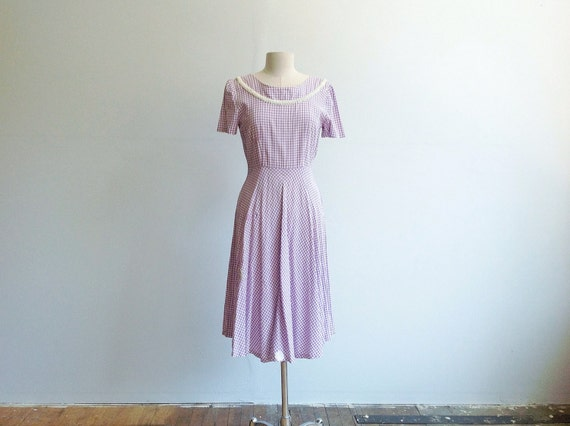 1940s Patched Gingham Cotton Dress.