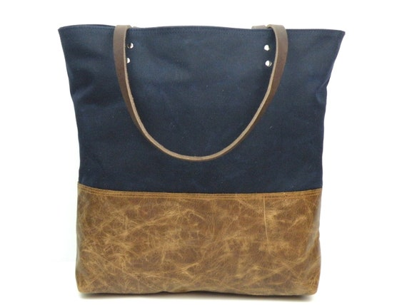 Urban Tote in Navy Waxed Canvas and distressed leather