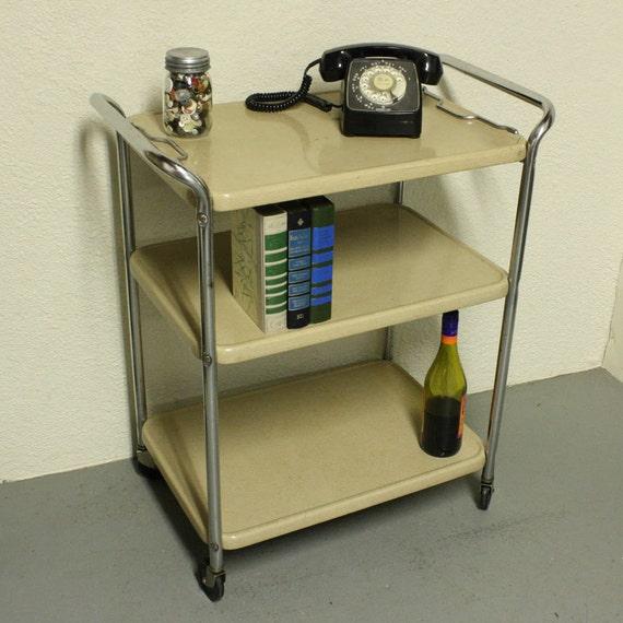 Vintage metal cart - serving cart - kitchen cart - Cosco - cream/tan ...