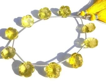 Super Finest AAA Lemon Quartz Concave Cut Flower Shaped Fancy Briolette 10Pcs 5 Matched pair