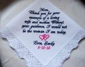 Mother of the Bride Handkerchief Personalized, Custom Hankie, Hanky