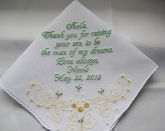 Mother of the Bride Handkerchiefs Embroidered Custom wedding Hankies  Personalized Gift for Parents by Napa Embroidery