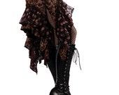 Skirt, Brown Combo, Polka Dots, Ruffles, Cabaret, Vaudeville, Steampunk, Wrap, Nouveau, Noir, BellyDance