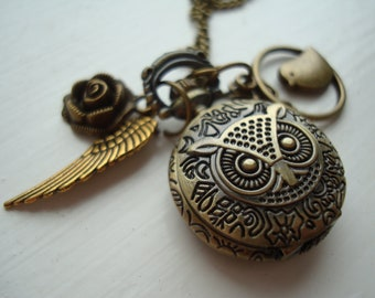 Bronze Owl Pocket Watch Necklace