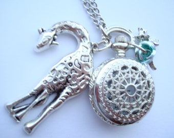 Giraffe Fox Necklace Pocket Watch Silver Plated with Green Rose