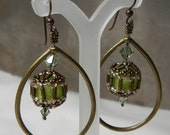 Green and Bronze Teardrop Earrings