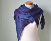 Purple blue hand knitted scarf H789