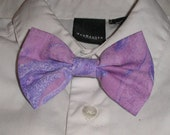 Handmade Boys Men Bow Tie Girls Bow Lavender Purple Print