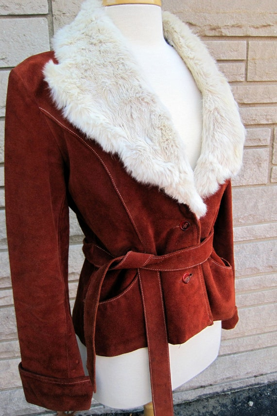 vintage 1970s suede jacket with fur trim. FREE U.S. SHIPPING