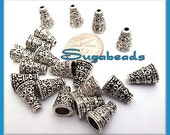 25 Antiqued Silver Cone Bead Caps 7x10mm