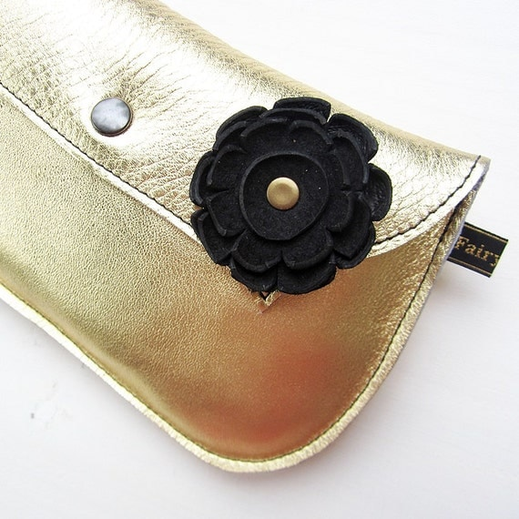 Handmade Leather clutch Purse, Bag, PURE GOLD leather DODIE by Fairysteps 2076