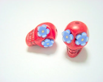 Red, White, and Blue Flower Eyes in Day of The Dead Sugar Skull Beads-12mm