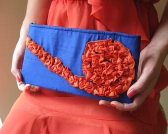 Clutch - The Kimberly Clutch in royal blue and orange silk dupioni , Something Blue Wedding Purse, Bridesmaids ruffle bag