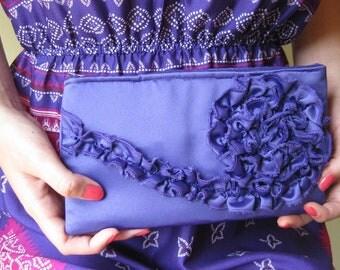 Clutch - The Kimberly Clutch - Royal Purple Duchess Satin, Bridal Purse, Wedding Bag, Bridesmaids Ruffle Clutch, Formal Evening Wear Purse