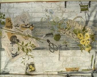 vintage decor tapestry garden shelf 1960s