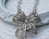 Silver Rhinestone Bow Assemblage Necklace - Repurposed Vintage Jewelry