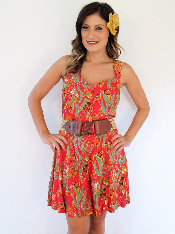 80s H.L. Spencer Ltd. Red Tropical Print Short Romper, Size Small to Medium