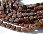 Red Picasso 9mm Square Czech Glass Beads  25