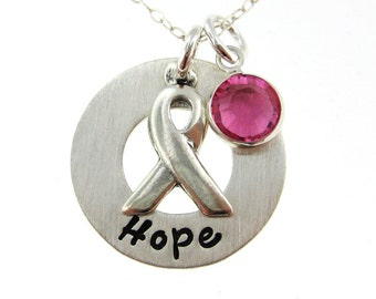Hope Necklace - Sterling Silver Breast Cancer Awareness Jewelry