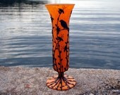Bored to Death Crow Sits Sculpted onto Recycled Art Glass Bright Orange Vase