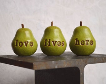 Gifts for her ... vintage green love lives here pears... Housewarming gift ... small gift table decor