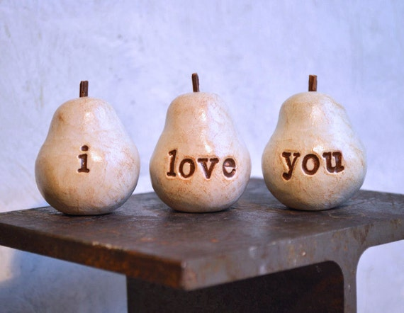 Rustic i love you pears// Three handmade decorative clay pears // vintage white color