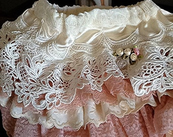 Wedding Flower Girl Ruffled Vintage Lace, Ecru Peach by Rosanna Hope for Babybonbons Perfect for Birthday Party