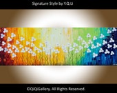 """Original Modern Abstract Heavy Texture Impasto Palette Knife Painting Flower Landscape""""Raising with the rainbow"""""""