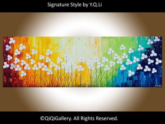 "Original Modern Abstract Heavy Texture Impasto Palette Knife Painting Flower Landscape""Raising with the rainbow"""