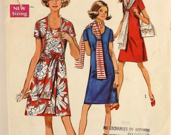 Vintage 70's Sewing Pattern, Misses' Dress and Scarf, Size 14 1/2