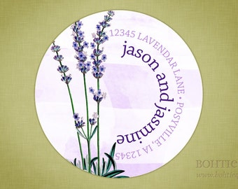 Custom Return Address Label Sticker - Lavendar