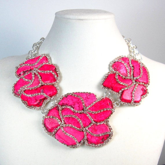 Statement necklace, pink necklace, pink turquoise, turquoise necklace, statement jewelry, flower necklace, crystal necklace