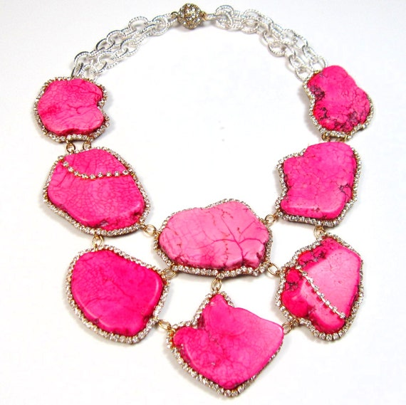 Statement necklace pink turquoise and crystal embellished beaded bohemian luxe statement jewelry by Ezzaexclusive