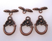 50% Off Toggle Clasp, 4 Antique Copper Flower and leaf  toggle clasps plated pewter 18x12mm CL0044