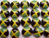 Flags Hand painted Glass Gems party favors mini art  Jamaican flag set of 50