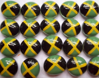 Handpainted Glass Gems party favors mini art  Jamaican flag