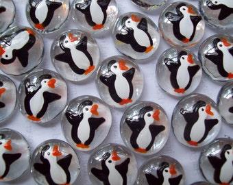 Glass Gems Hand painted party favors mini art  penguins penguin