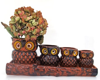 Vintage Ceramic Owls Measuring Cup Set with Log Rack Japan Vintage Collectible Kitchenware Kitsch Figural Animal Decorative Cooking