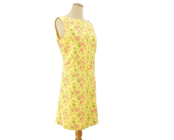 Vintage Sheath Dress 1960s Rose Floral Print Pink Green Summer Cotton Sleeveless Shift Dress Bow Accent Size Large XL Clothing