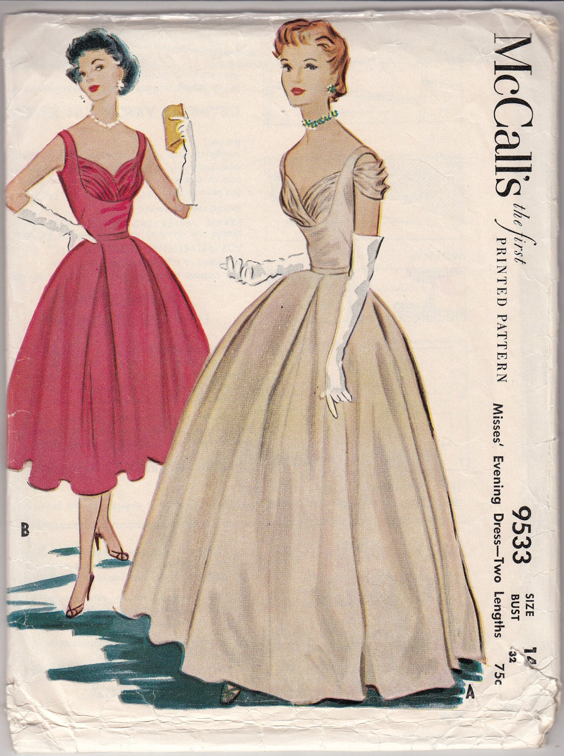 Vintage Sewing Pattern 1950 S Evening Dress Mccall S