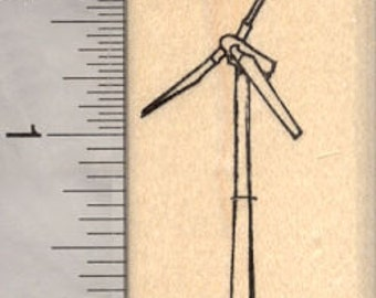 Wind Turbine Rubber Stamp, Windmill, Wind Power, Wind farm E18506 Wood Mounted