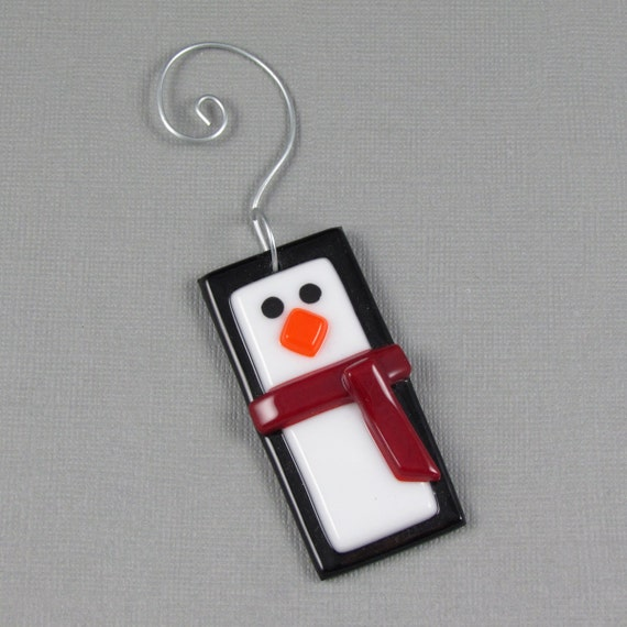 Penguin ornament fused glass red scarf christmas tree